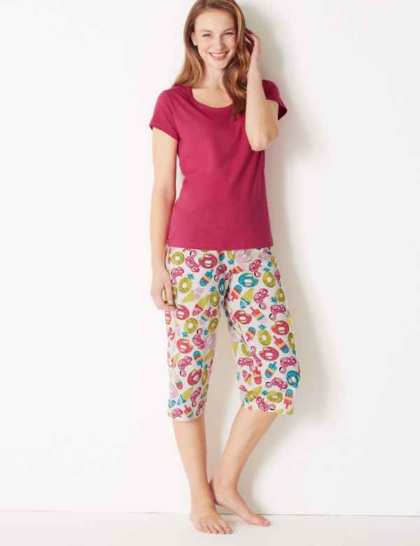 Pure Cotton Summer Cropped Pyjama Set b95707e00