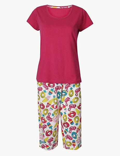 Pure Cotton Summer Cropped Pyjama Set