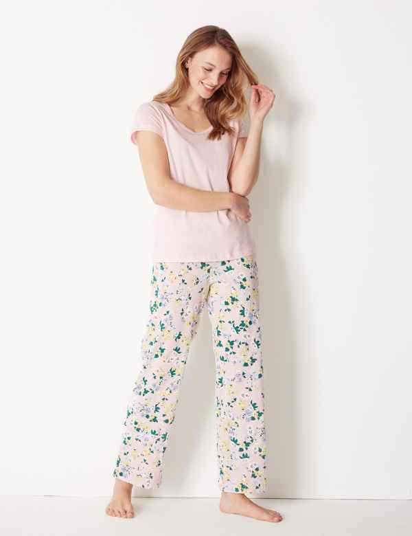 Pure Cotton Floral Pyjama Set. New. M S Collection 50b753482