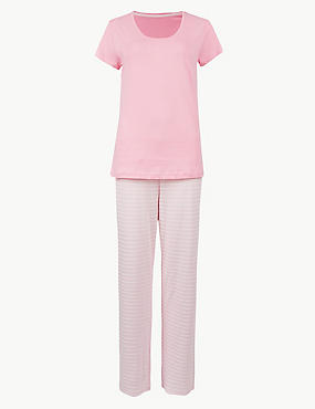 Pure Cotton Striped Short Sleeve Pyjama set, LIGHT PINK MIX, catlanding