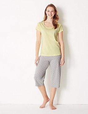 a41a33e75b1f Star Print Long Sleeve Pyjama Set · Pure Cotton Star Cropped Pyjama Set