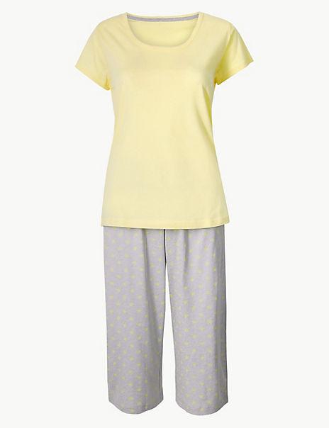 Pure Cotton Star Cropped Pyjama Set