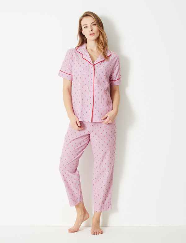aa2f40789a0 Pure Cotton Dobby Revere Collar Pyjama Set