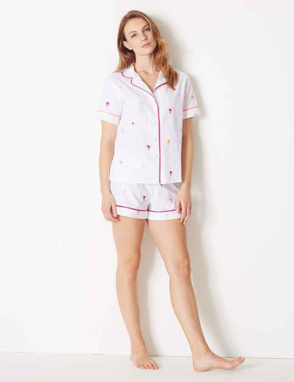 4003c16e14d5 Pure Cotton Palm Revere Collar Short Pyjama Set