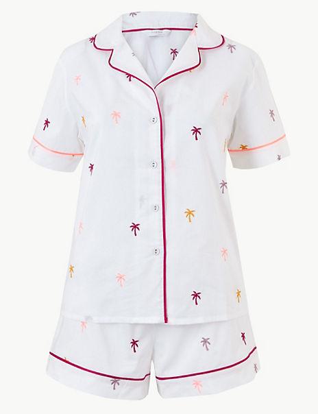 Pure Cotton Palm Revere Collar Short Pyjama Set