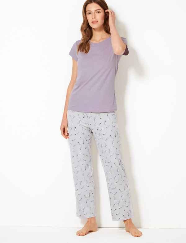 7e954b03527c1b Pure Cotton Feather Print Pyjama Set