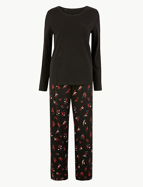 Ditsy Floral Print Cotton Pyjama Set