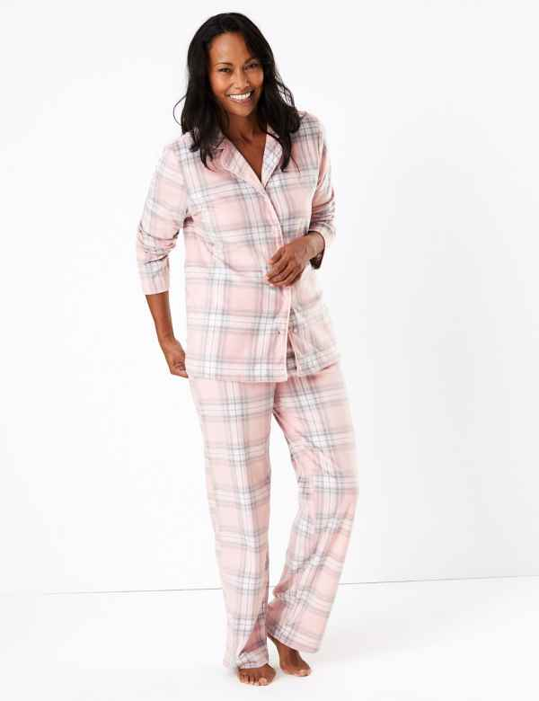 M&S COLLECTION Fleece Checked Pyjama Set