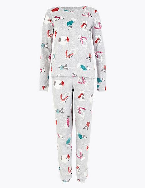 Fleece Dog Print Pyjama Set