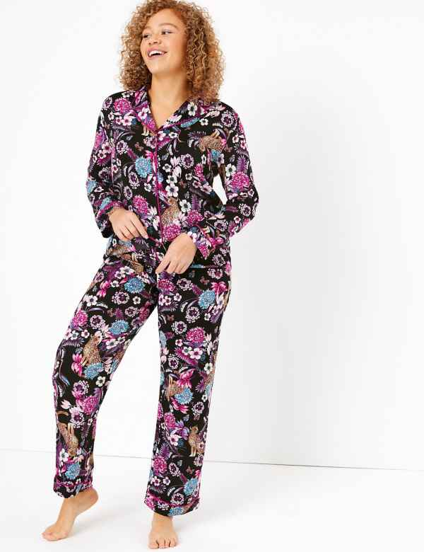 M/&S/&W Mens Sleepwear Satin-Silk-Like Fashion Lounge Print Pajamas Sets