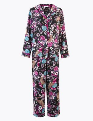 Satin Leopard Floral Print Pyjama Set by Marks & Spencer