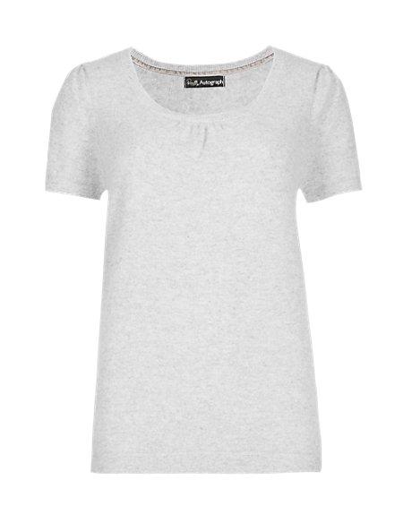 Pure Cashmere Short Sleeve Pyjama Top