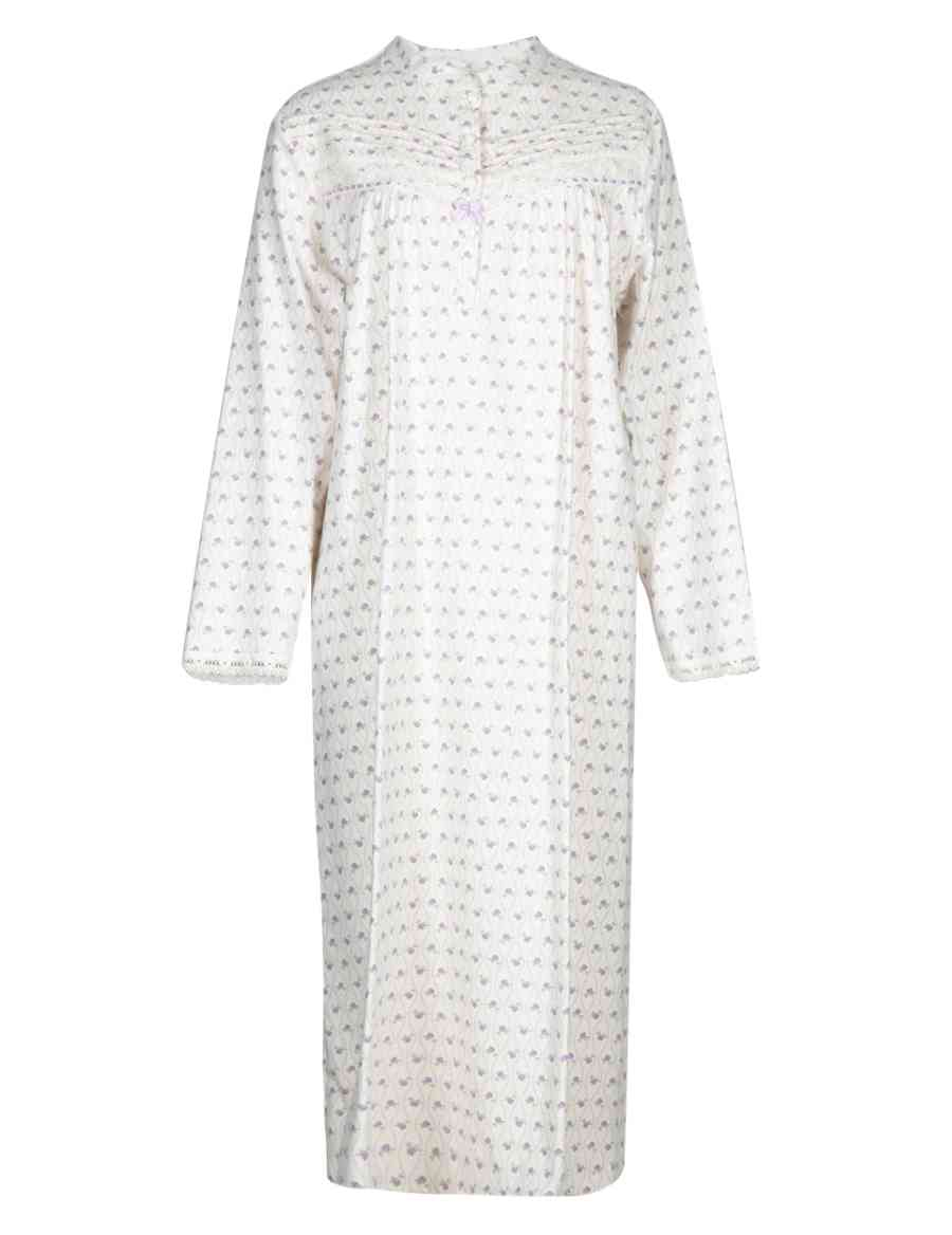 56504030dd Pure Brushed Cotton Floral   Spotted Nightdress