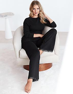 Modal Blend Pyjama Bottoms with Cashmere, BLACK, catlanding