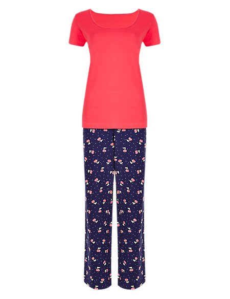 Pure Cotton Cherry Print Pyjamas
