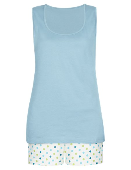 Pure Cotton Spotted Short Pyjamas