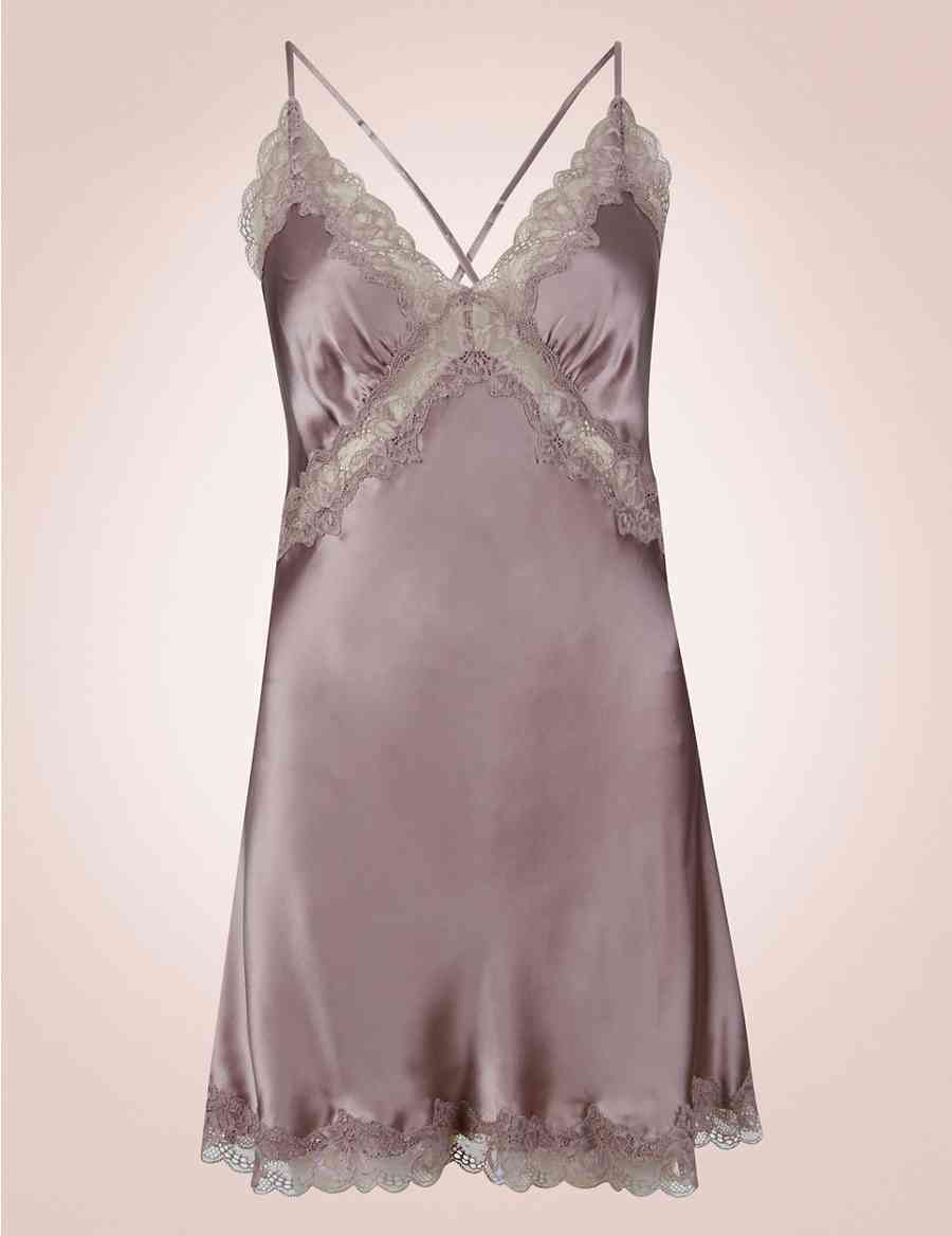 Pure Silk French Designed Lace Trim Chemise  68375adfd