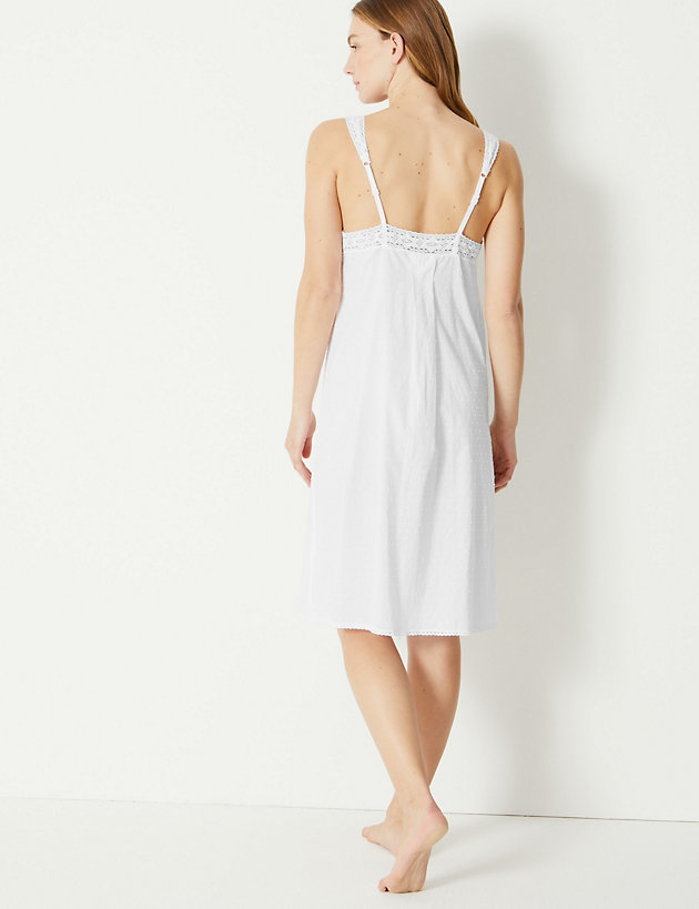 d451faa909d45 Pure Cotton Dobby Chemise | Nightdresses | Marks and Spencer Dubai