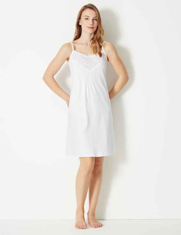 8e58b1db1a9 Pure Cotton Broderie Detail Strappy Chemise