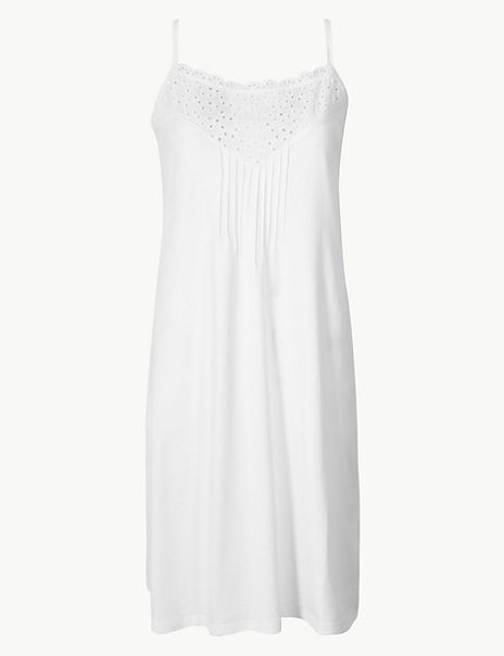 Pure Cotton Broderie Detail Strappy Chemise