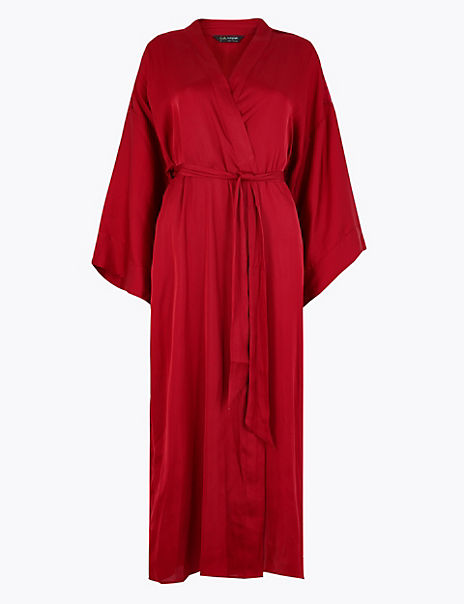 Satin & Lace Trim Long Dressing Gown