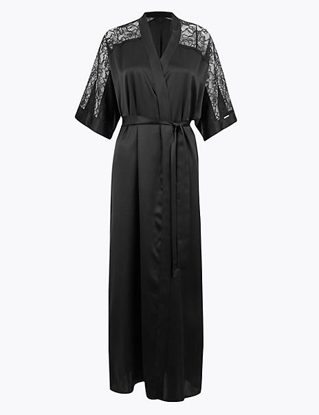 Silk & Lace Long Dressing Gown