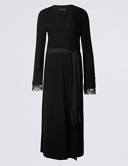 Lace Trim Dressing Gown with Cashmere | Rosie for Autograph | M&S