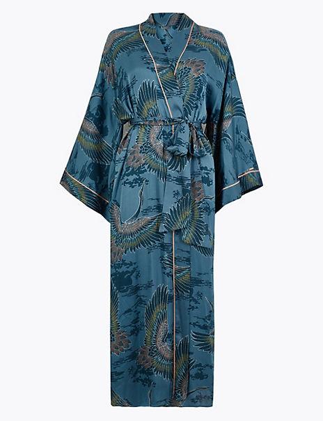 Satin Crane Bird Design Dressing Gown