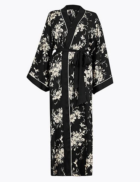 Satin Floral Print Wrap Dressing Gown