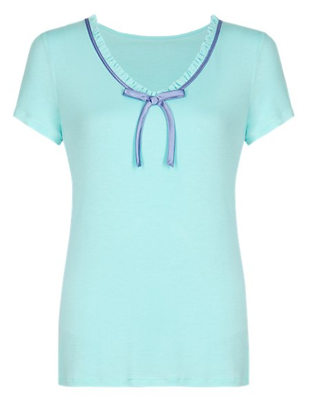 Frilled Neckline Pyjama Top