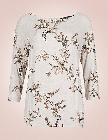 Printed 3/4 Sleeve Pyjama Top