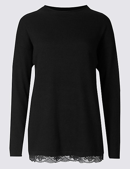 Long Sleeve Lace Trim Pyjama Top with Cashmere