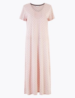 Cool Comfort™ Cotton Modal Spotted Long Nightdress by Marks & Spencer