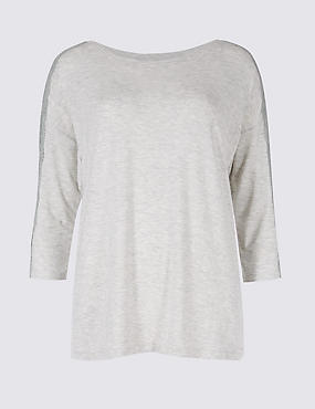 Lace Trim ¾ Sleeve Pyjama Top, GREY MARL, catlanding