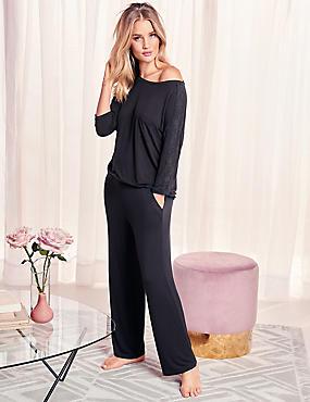 Lace Trim ¾ Sleeve Pyjama Top, BLACK, catlanding