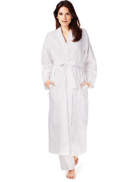 Pure Cotton Cool Comfort™ Long Wrap Dressing Gown | 002 | M&S