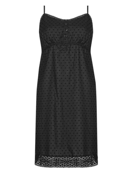 Pure Cotton Dobby Embroidered Chemise with Cool Comfort™ Technology