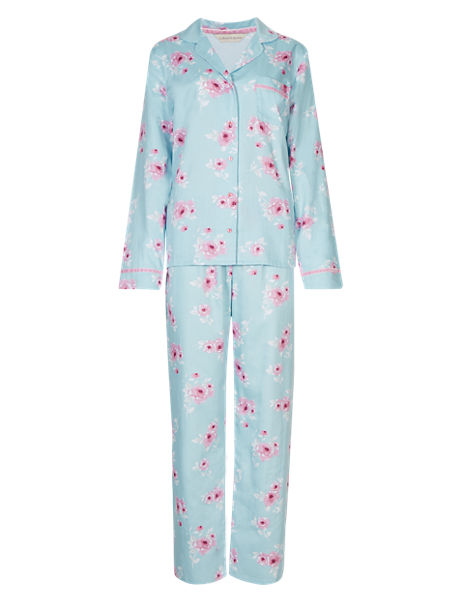 Pure Cotton Floral Satin Pyjamas with Cool Comfort™ Technology