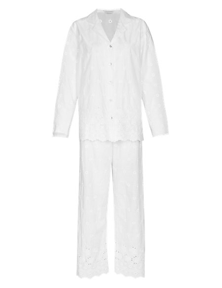 Pure Cotton Embroidered Pyjamas with Cool Comfort™ Technology