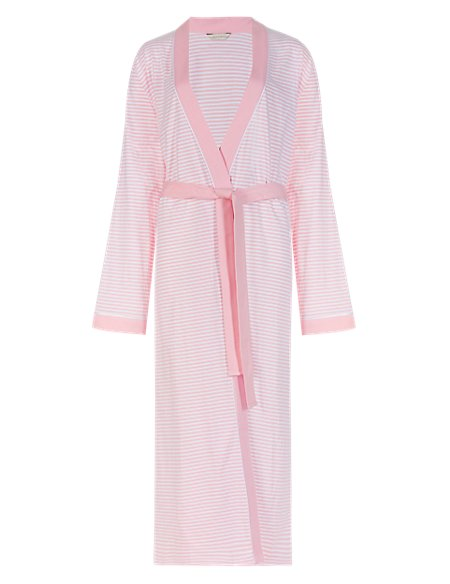 Pure Cotton Striped Wrap Dressing Gown with Cool Comfort™ Technology