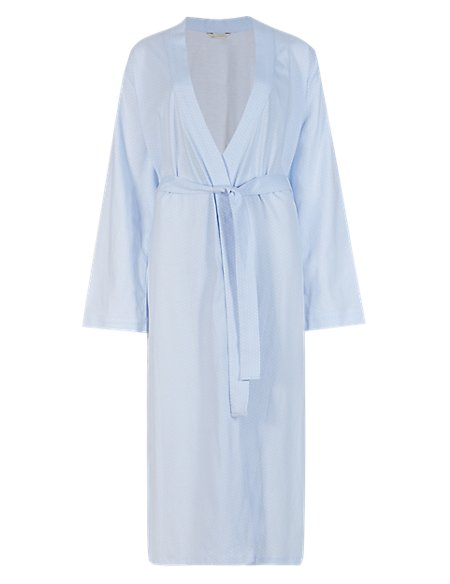 Pure Cotton Spotted Wrap Dressing Gown with Cool Comfort™ Technology