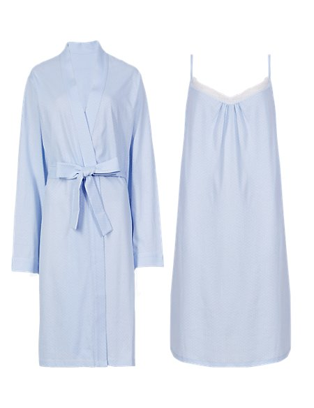 Pure Cotton Pinspotted Chemise & Wrap Set with Cool Comfort™ Technology