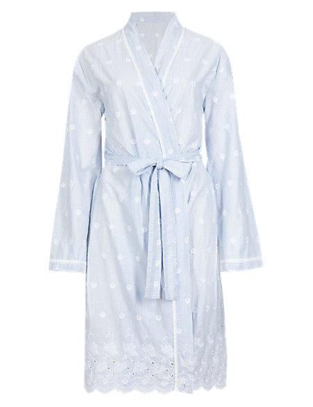 Pure Cotton Striped Embroidered Wrap Dressing Gown with Cool Comfort ...