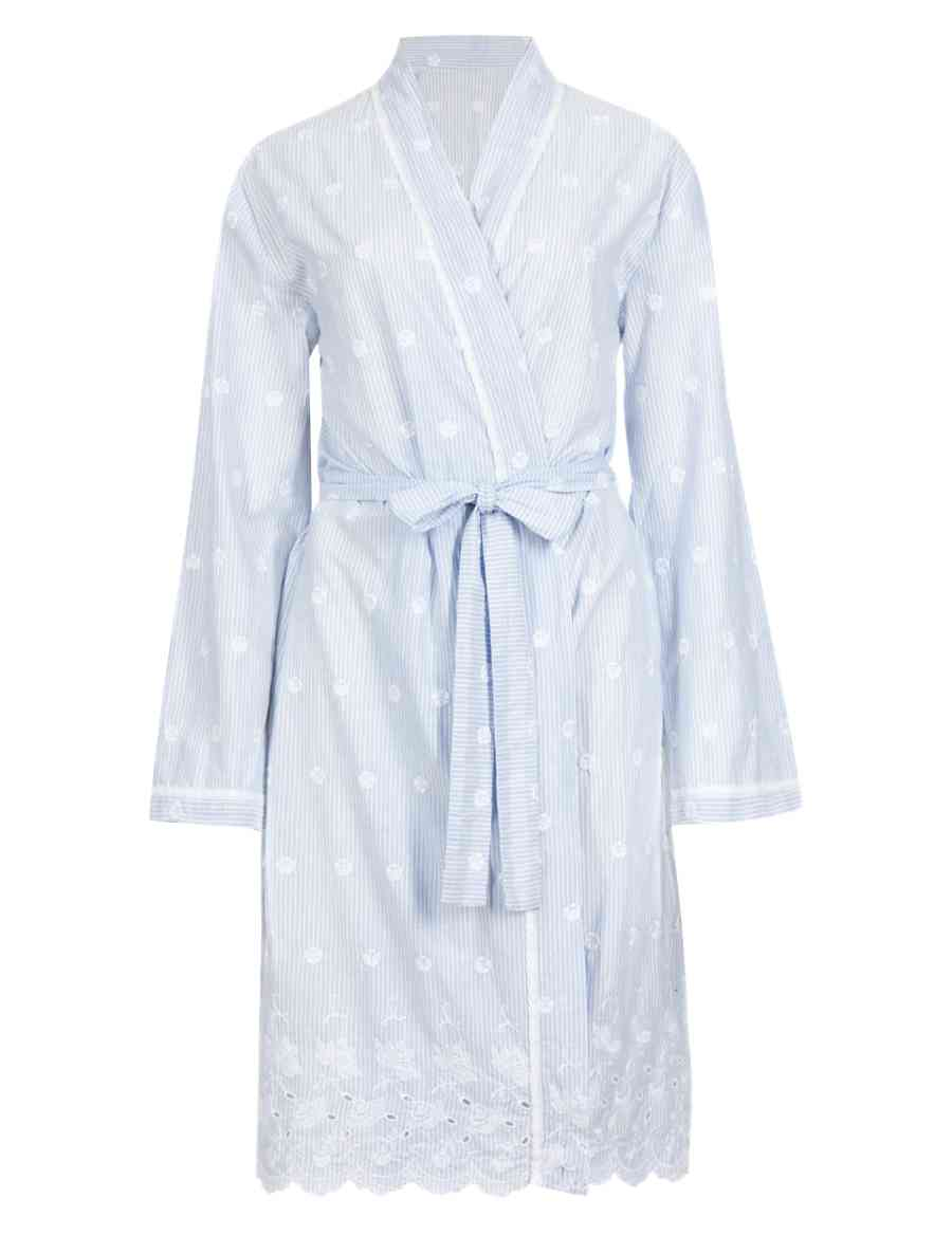 4debf796d4 Pure Cotton Striped Embroidered Wrap Dressing Gown with Cool Comfort™  Technology