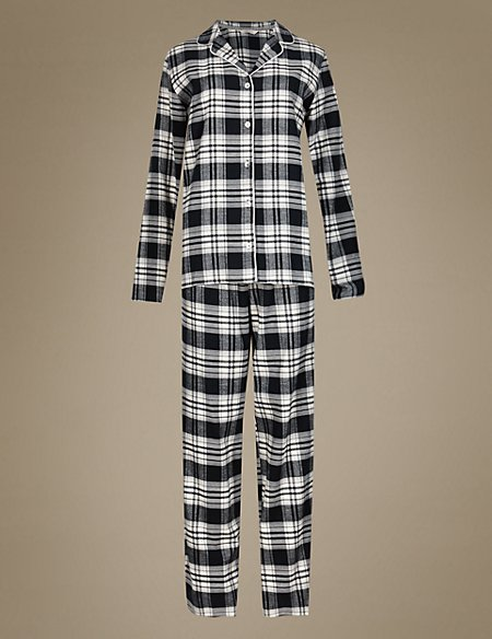 Pure Cotton Revere Collar Checked Pyjamas