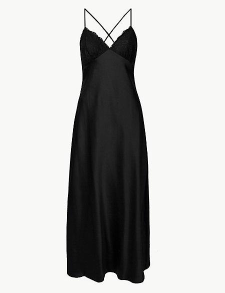 Satin Strappy Long Nightdress