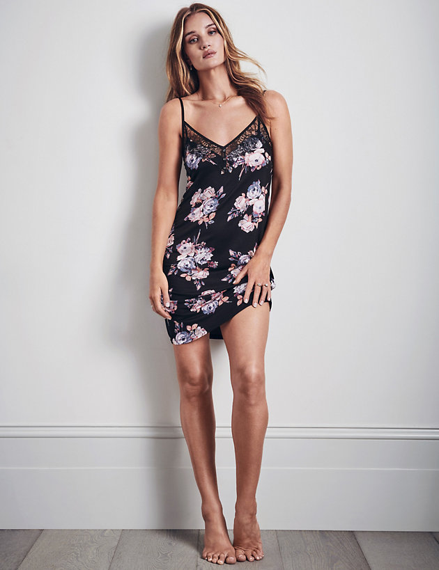 Jersey Floral Chemise with Lace