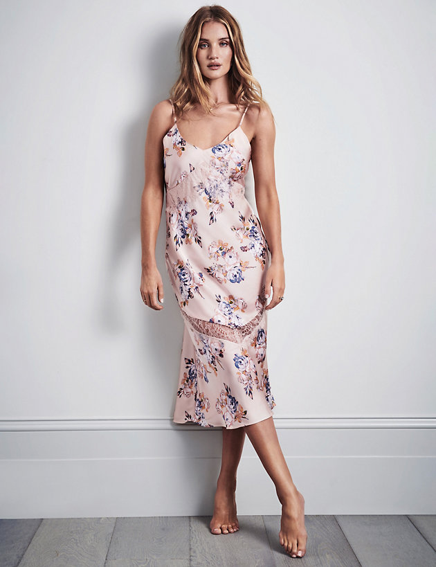 Satin & Lace Floral Print Long Nightdress