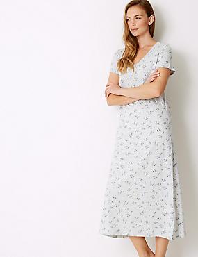 Modal Blend Floral Print Long Nightdress, GREY MIX, catlanding