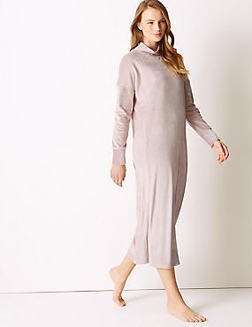 Supersoft Fleece Lounge Dress, PINK, catlanding